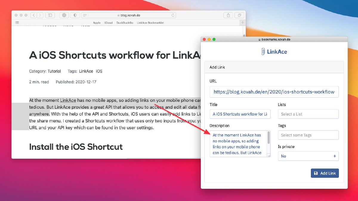 Preview of the bookmarklet while saving a link with a description