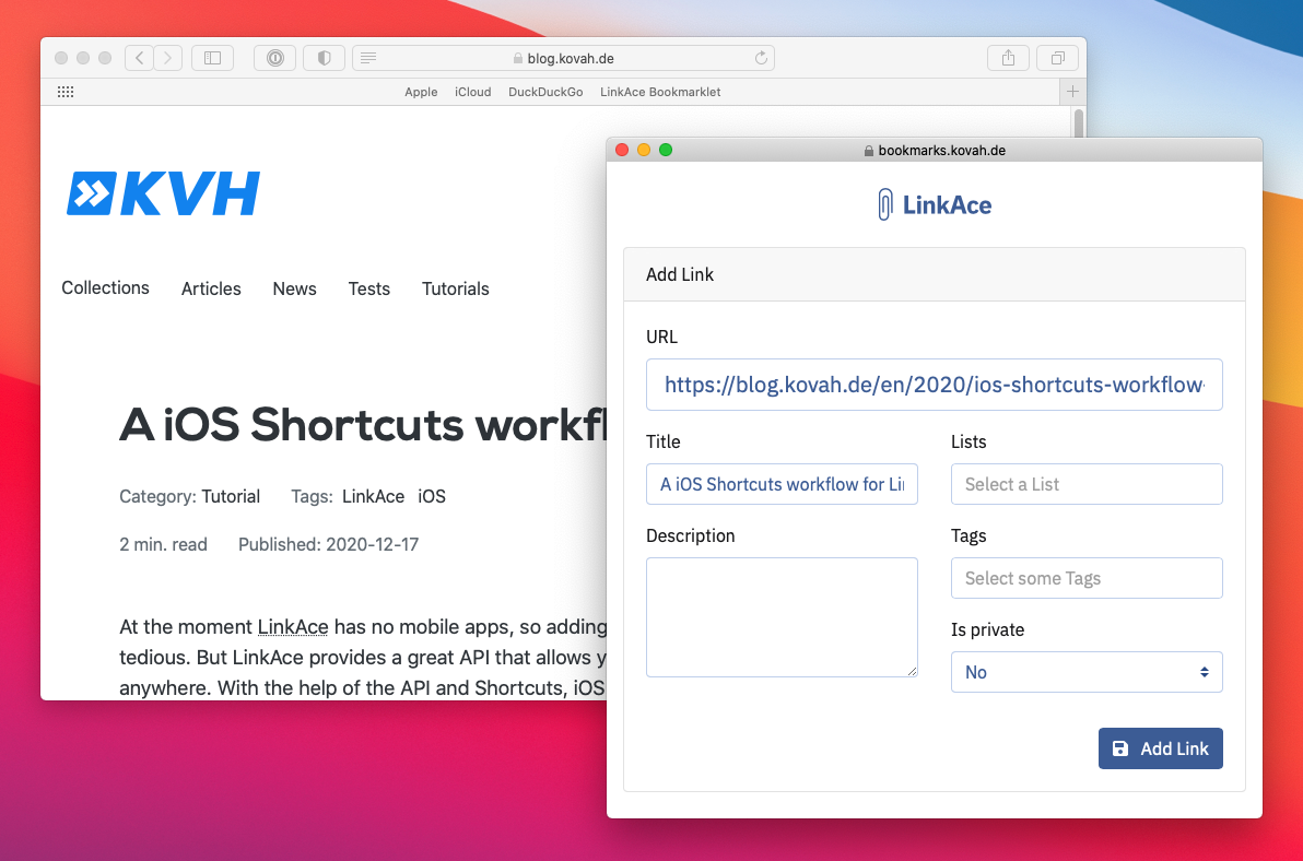 Preview of the bookmarklet while saving a new link